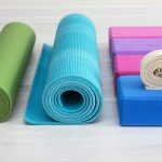yoga props blocks, strap, mat and towel